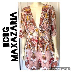 BCBGMaxazaria L Floral Boho Romper Shorts SunDress